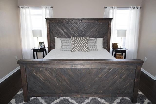 s amazing diys from 21 hometalkers who are totally slaying on instagram, Chevron Style King Size Bed Build
