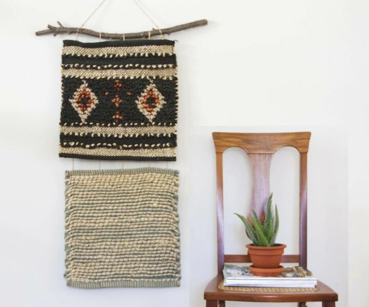s 15 ways unexpected items are making these walls really stand out, A 10 wall hanging made from rug samples