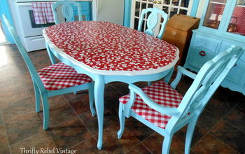 Vinyl Tablecloth Kitchen Table Makeover