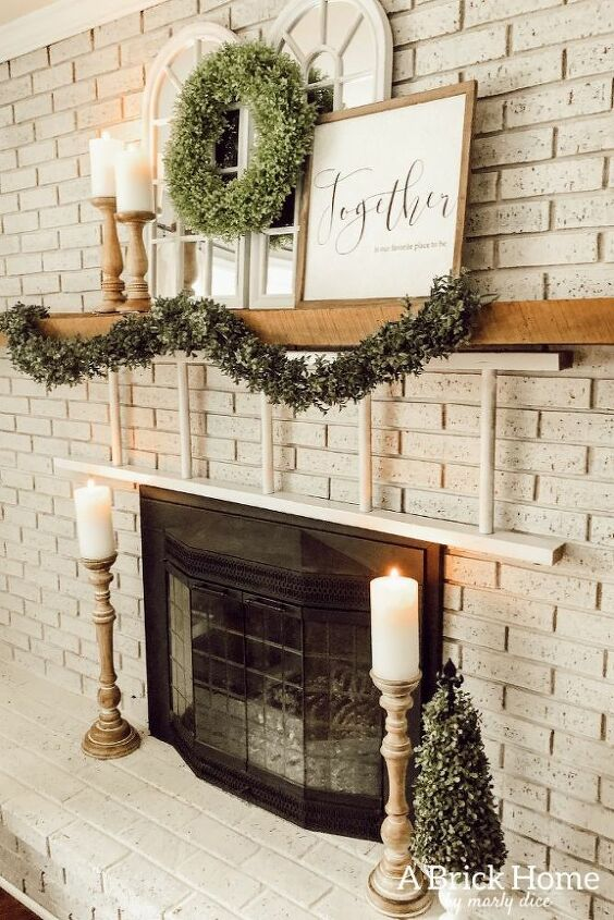 how to whitewash your brick fireplace, Marly s whitewashed brick fireplace