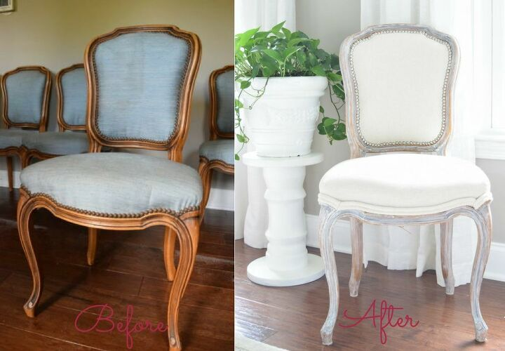 We white waxed and reupholstered these chairs