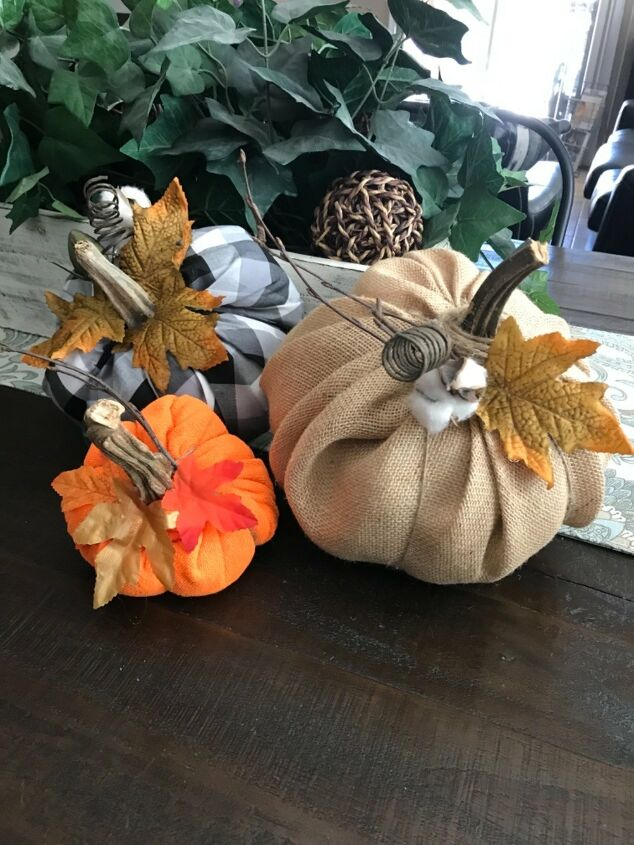 s 12 new fall porch decor ideas, These easy fabric fall pumpkins are just the cutest