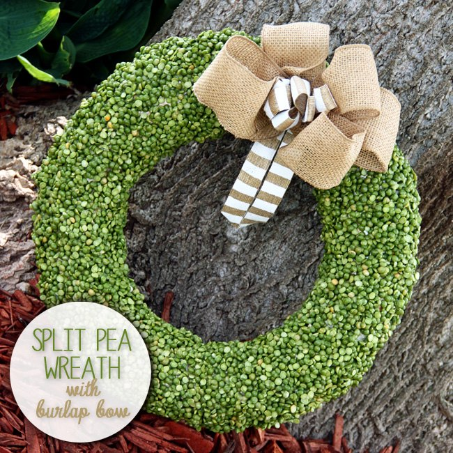 s 12 new fall porch decor ideas, Something about this sweet split pea and burlap wreath makes us feel so cozy