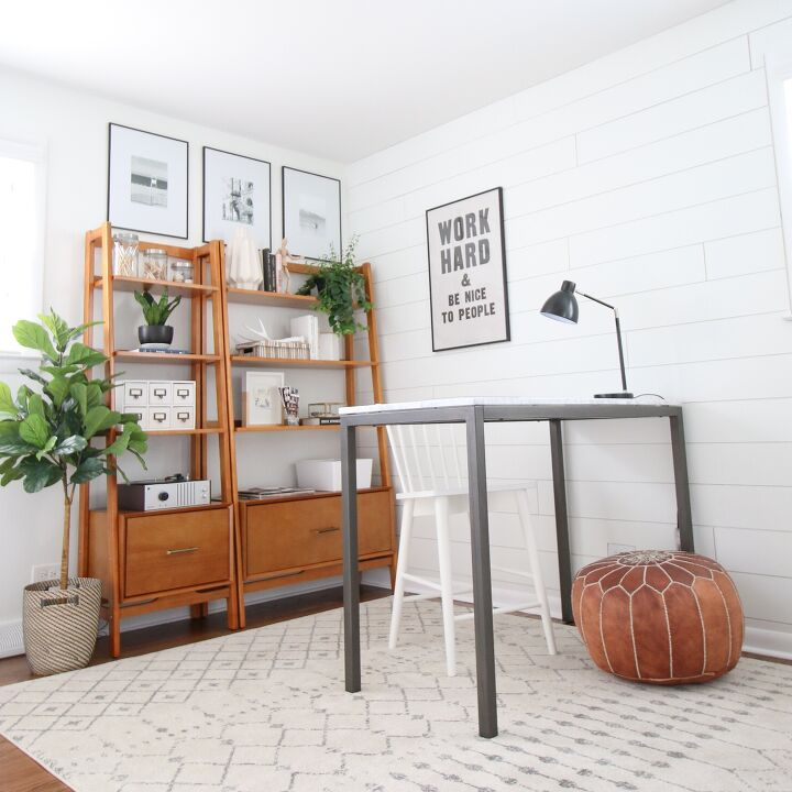 s 29 work spaces that make us wish we were going back to school, A home office that is rocking the shiplap look