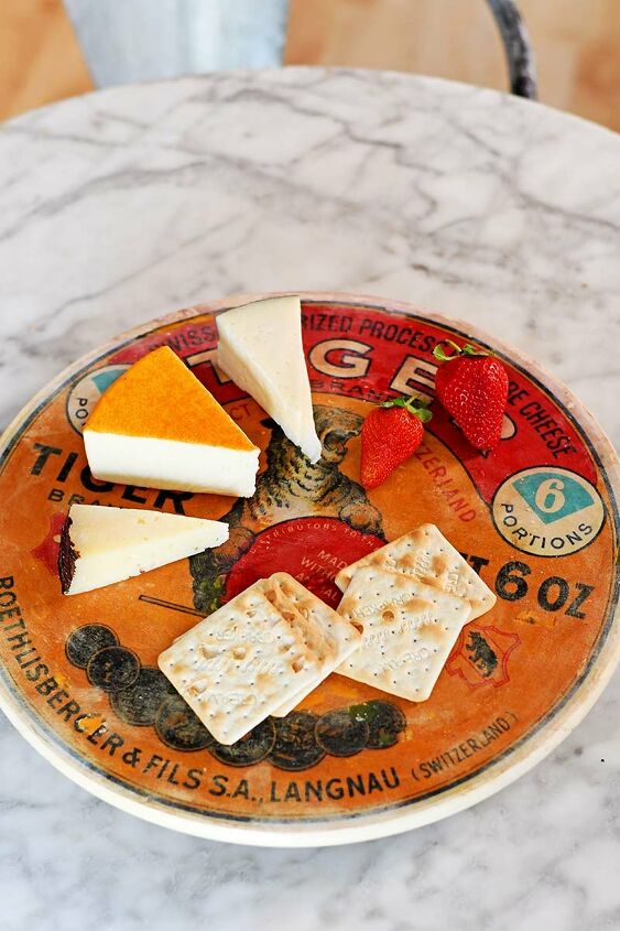 s 25 ways people are rocking the decoupage look in their homes, Vintage cheese label lazy susan