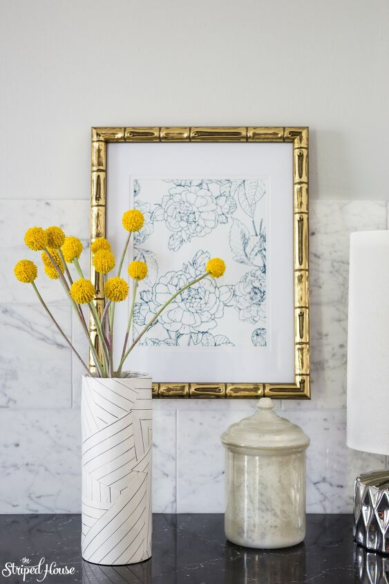 s 25 ways people are rocking the decoupage look in their homes, Miles Redd inspired deconstructed striped vase