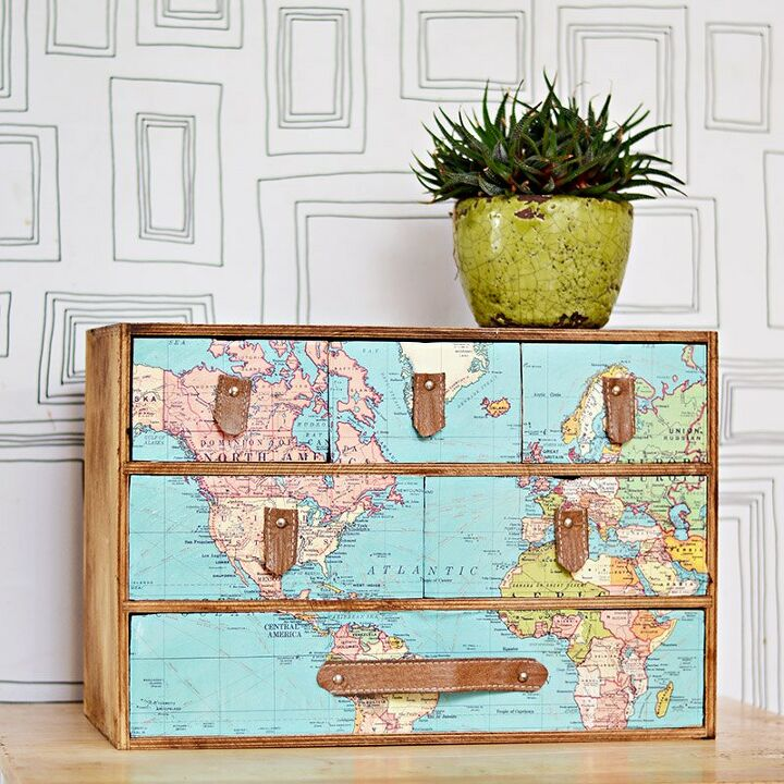 s 25 ways people are rocking the decoupage look in their homes, Map and leather upcycle with IKEA mini drawers