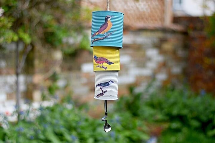 s 25 ways people are rocking the decoupage look in their homes, Songbird upcycled wind chime