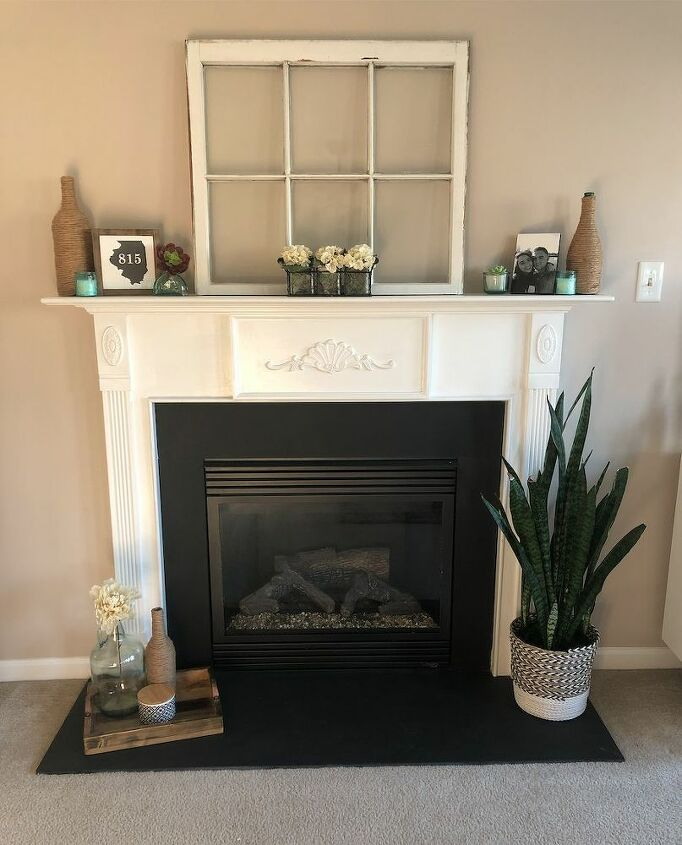 faux tile fireplace make over