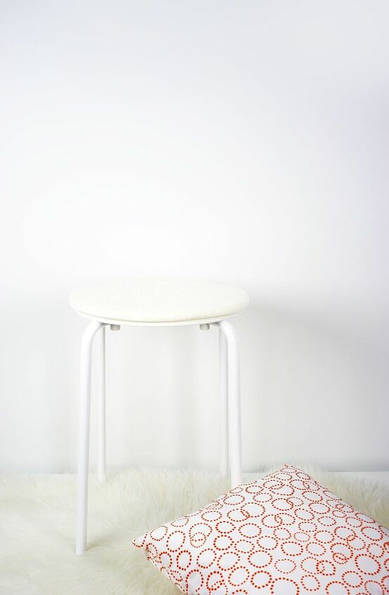 IKEA Metal Stool, Faux Fur Rug & Pillow