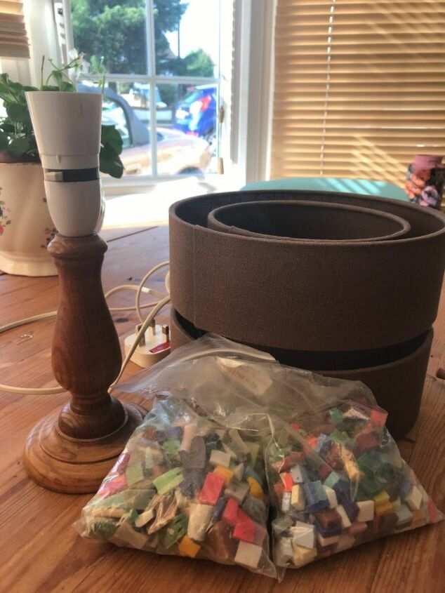 Lamp base and smalti glass tiles