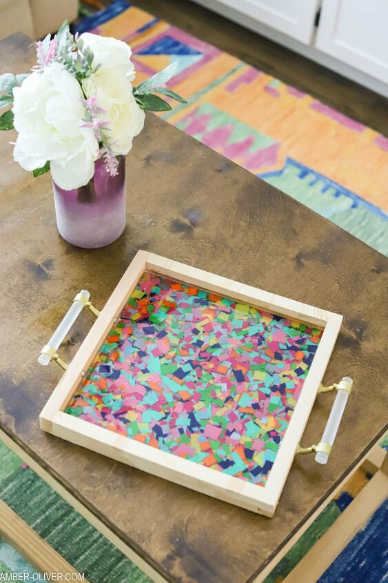 s 18 epoxy resin projects anyone can do so in right now, This resin confetti tray is perfect for your next party