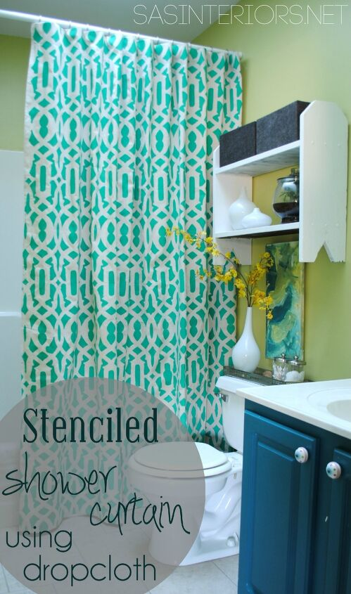 s 19 ways to use a drop cloth that you ve probably never thought of, Stencil a drop cloth for this stunning shower curtain idea