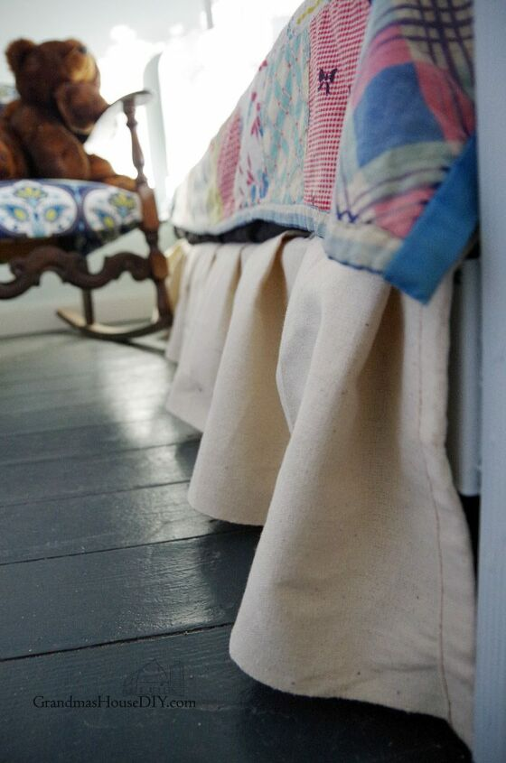s 19 ways to use a drop cloth that you ve probably never thought of, Grab a drop cloth for this no sew bed skirt
