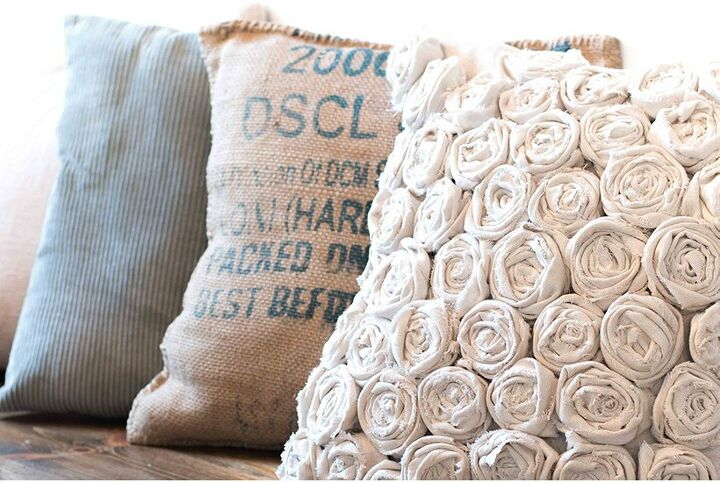 s 19 ways to use a drop cloth that you ve probably never thought of, Use a drop cloth to make a beautiful textured pillow