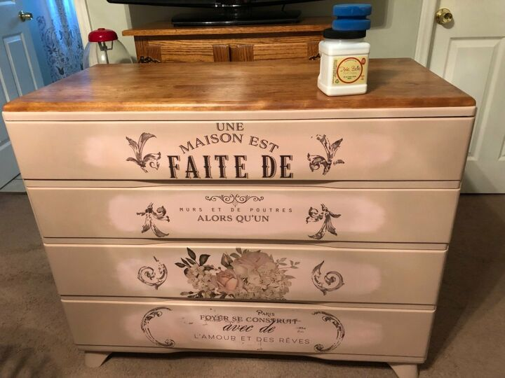 s 21 ways to redo that old dresser you can t stand looking at anymore, Dress up an old dresser with vintage transfers