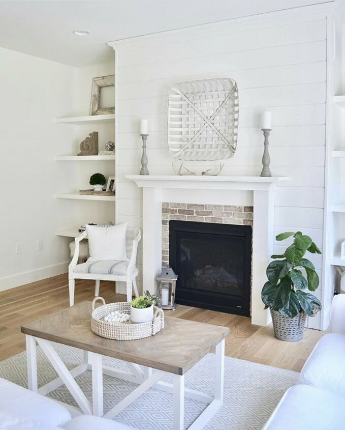 s 21 of our favorite feature accent gallery walls you can try today, This shiplap fireplace wall is just gorgeous