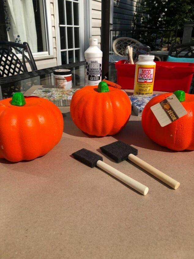 napkins and mod podge and pumpkins oh my