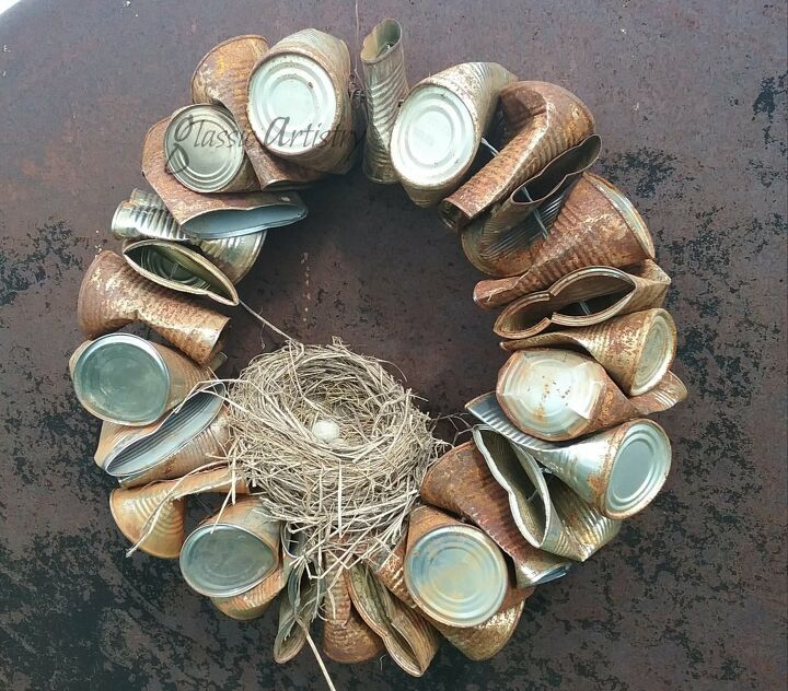 s 15 fall wreaths to kick off our favorite season, Recycled tin can wreath