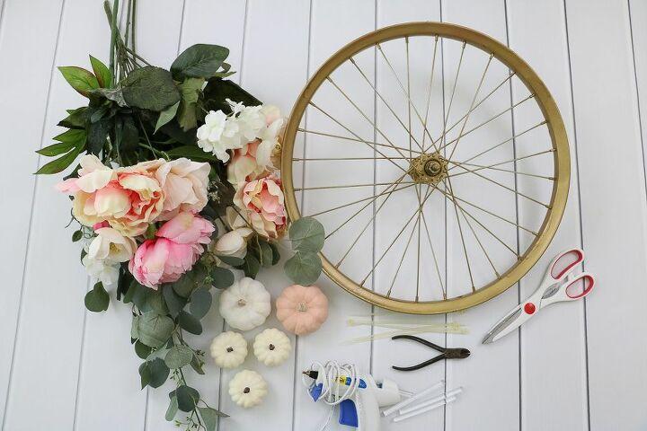 an cheerful autumn wreath made from a bike