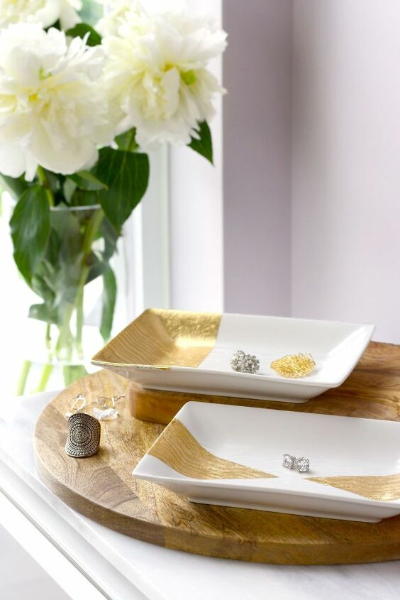 diy gold leaf trays for jewelry more