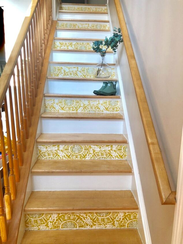 s 17 ways to enhance your entryway and give a great first impression, Add style to your entryway with stair refresh