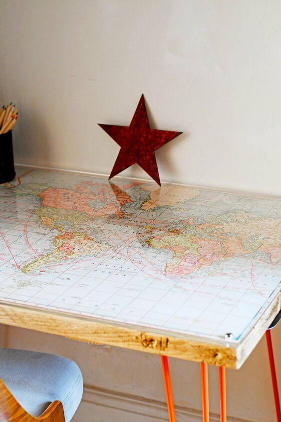 s 15 creative ways to use maps for stunning home decor, A custom map desk