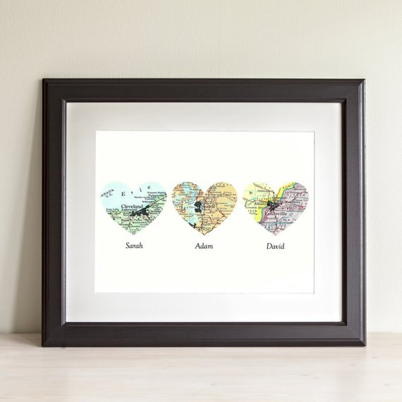 s 15 creative ways to use maps for stunning home decor, Heart maps for when your loved one s are near and far
