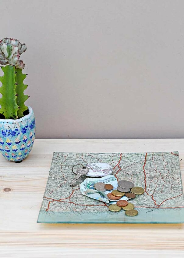 s 15 creative ways to use maps for stunning home decor, A handy map trinket dIsh