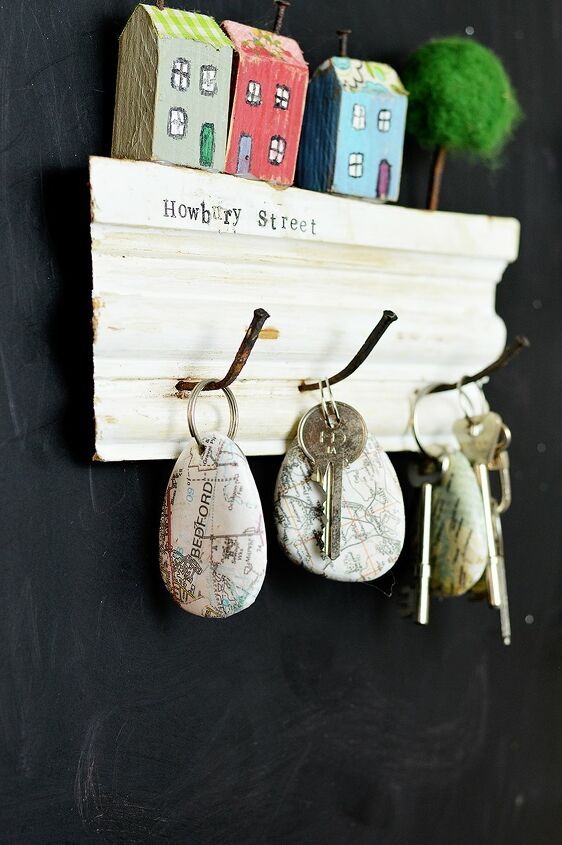 s 15 creative ways to use maps for stunning home decor, Personalized rock map key chain