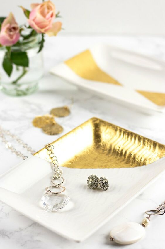 s 14 ways to add magazine worthy gold accents to your home, Gold leaf trays for jewelry more