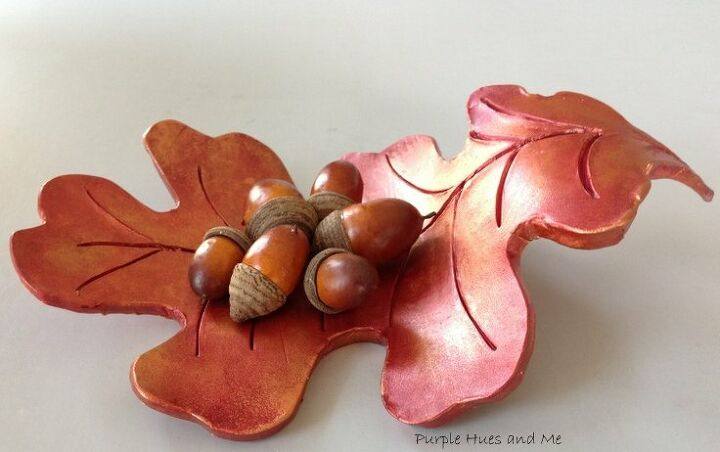 raised oak leaf clay dish diy