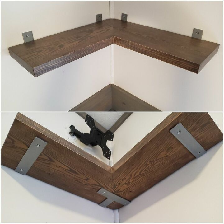 metal wood corner shelf