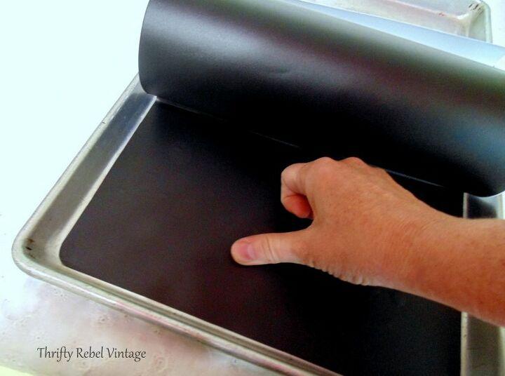 repurposed vintage cookie sheet chalkboard
