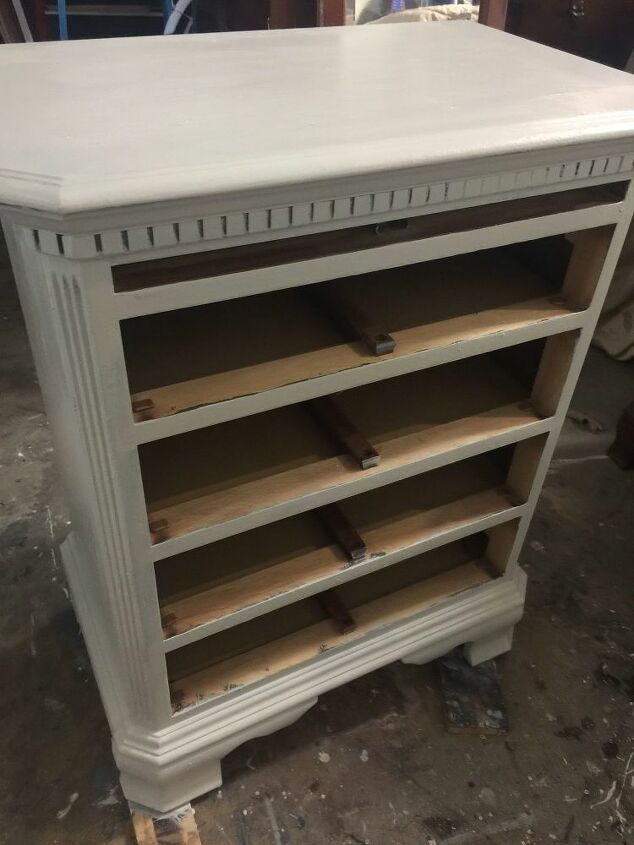 drab and outdated oversized nightstand turned into old world charm