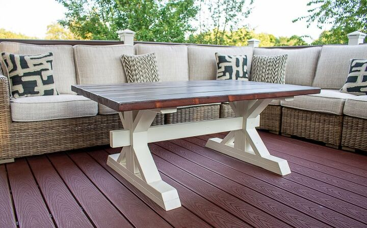 s 21 farmhouse accents to add to your home, This two toned outdoor coffee table is just the thing you need