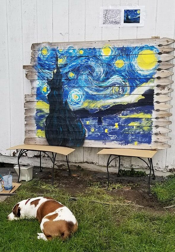 paint van gogh s starry night mural on an old fence