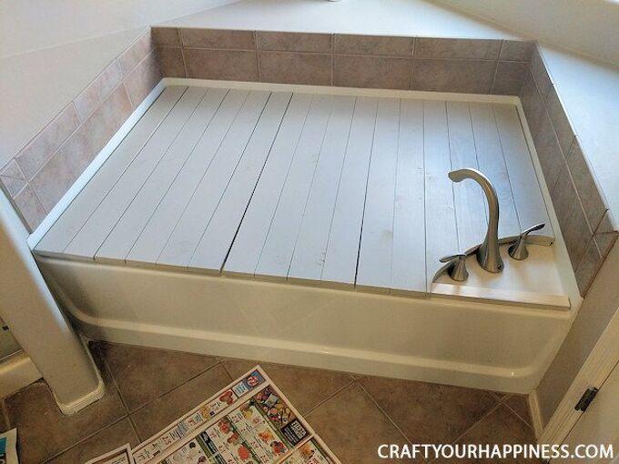 make a beautiful removable bathtub cover