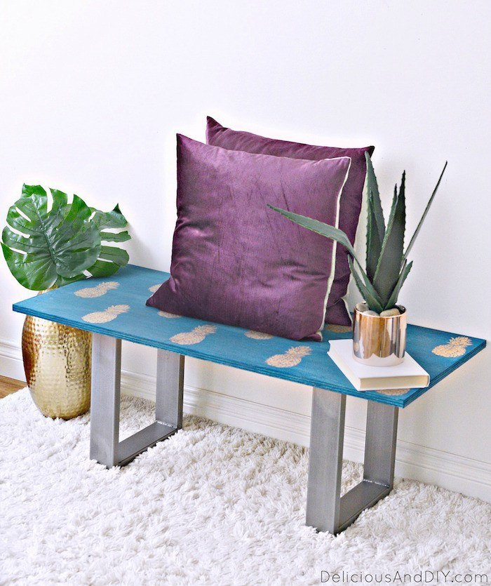 s 18 furniture transformation for people who aren t afraid of color, Pineapple outdoor bench