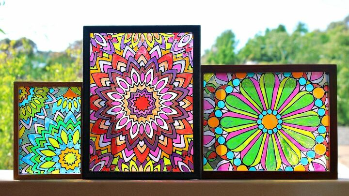 s 19 fantastic techniques for faux stained glass, Mandala artwork with gloss enamels