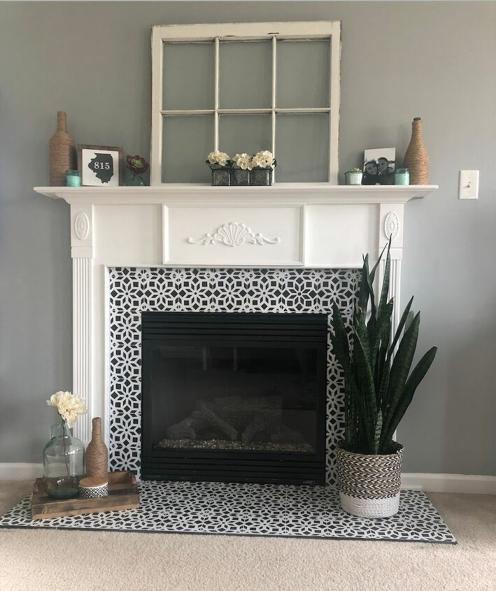 s 13 ways people stenciled their way to stunning transformations, Faux Tile Fireplace Make Over