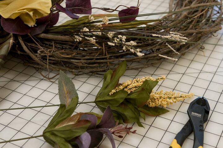 Adding fall floral picks