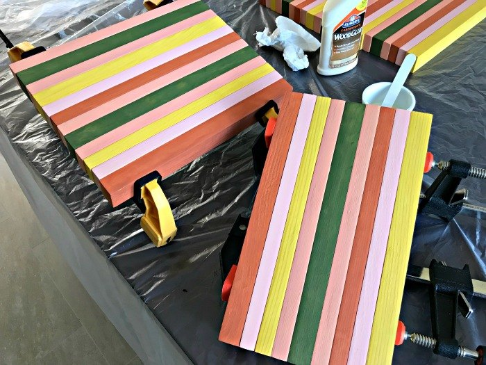 build a painted block table top from cheap 2x4 s