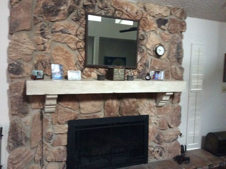 q how to whitewash a stone fireplace