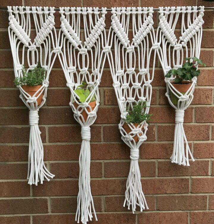 s join this years mst popular wall trend, Macrame Hanging Herb Garden