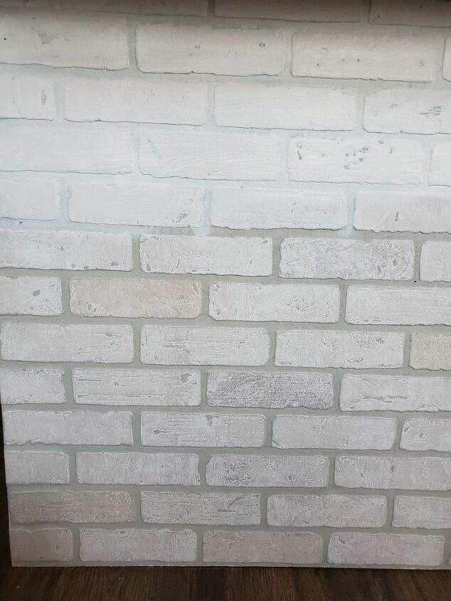 faux brick kitchen island update
