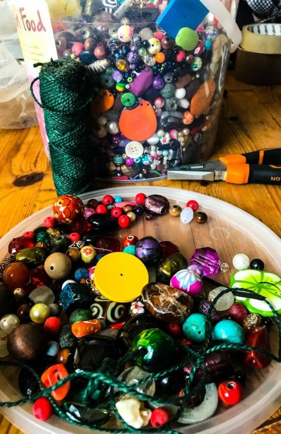 Bucket of beads to choose from