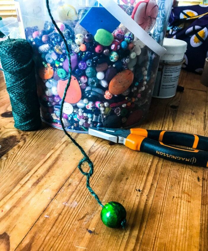 Knitting Green garden twine