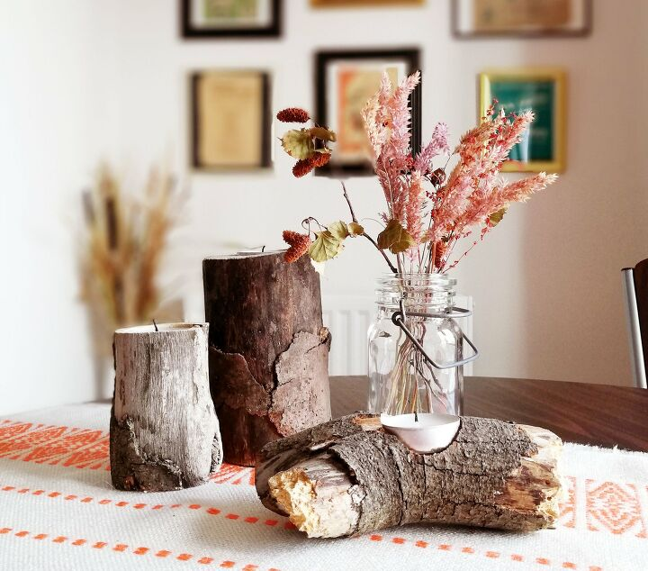 s 13 gorgeous table decor ideas for you o copy this fall, Rustic log tealight holders