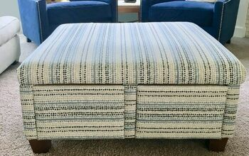FREE Ottoman Re-upholstery Before and After